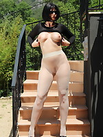 Black suit on Pantyhose Diva | PantyhoseDiva.com
